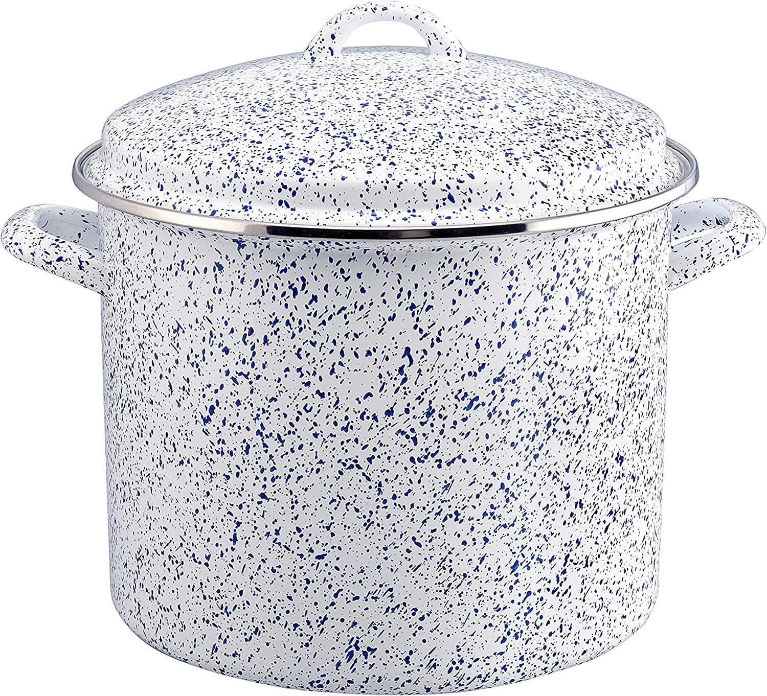 Paula Deen Enamel on Steel Stock Pot/Stockpot with Lid, 12 Quart, Seaspray White Speckle