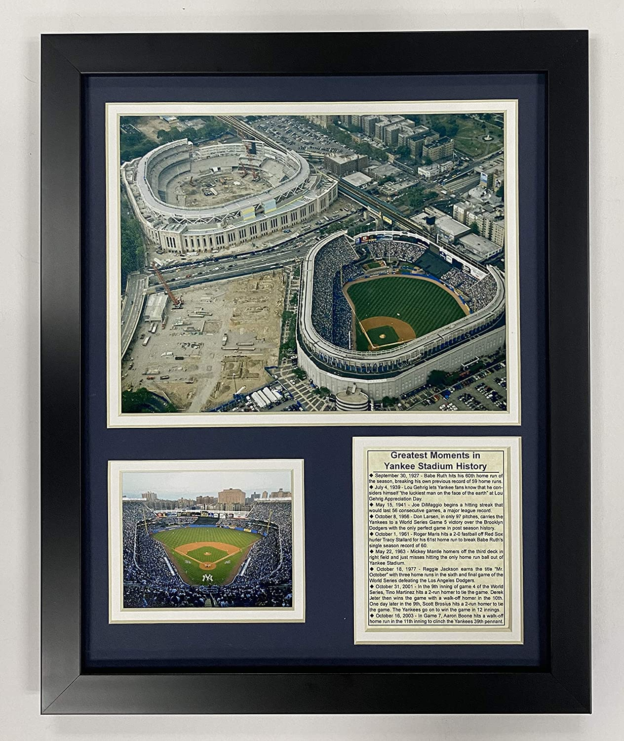 "Legends Never Die Yankee Stadium- Old and New Historical Collectible | Framed Photo Collage Wall Art Decor - 12""x15"", Model: 11127U"