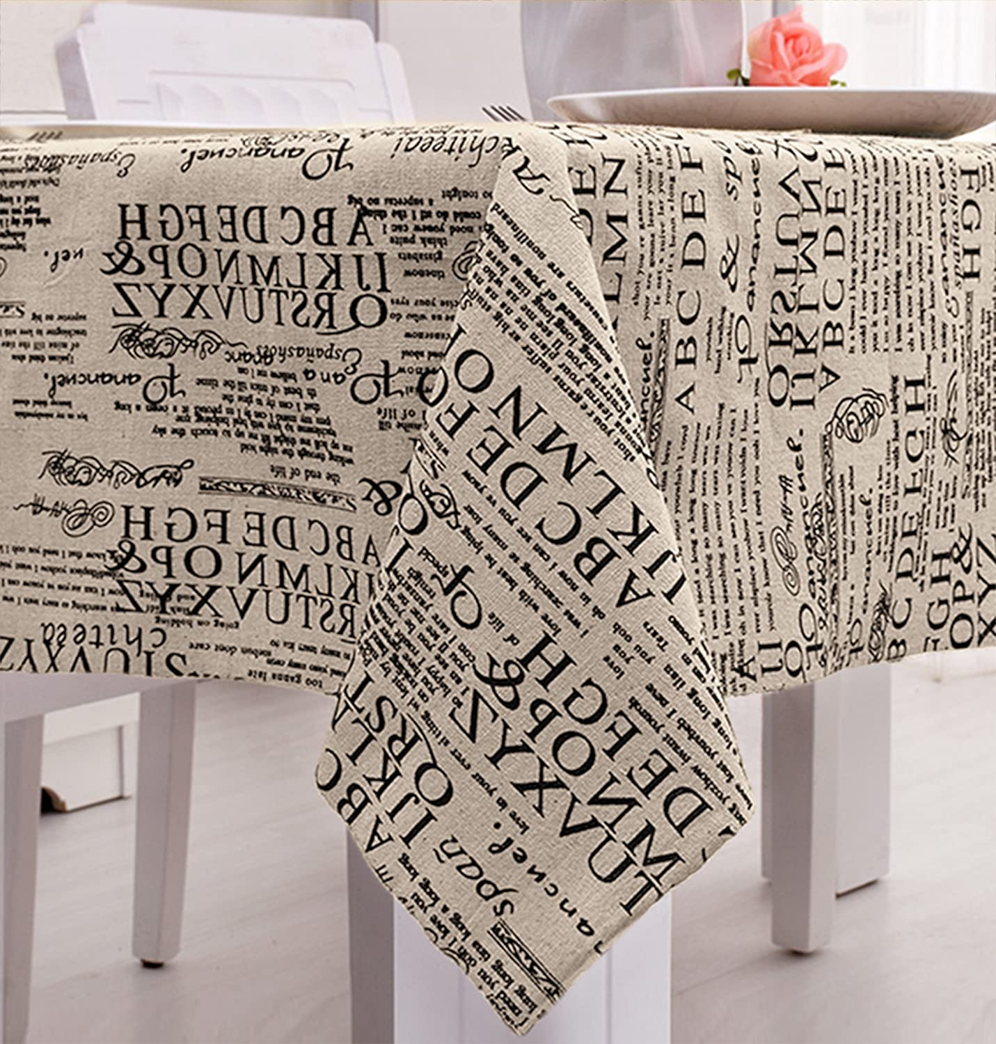 LINENLUX Map Letter Printed Tablecloth Macrame Lace Table Cover for Round Rectangular Oval Table Letter 1 23 x 23 in