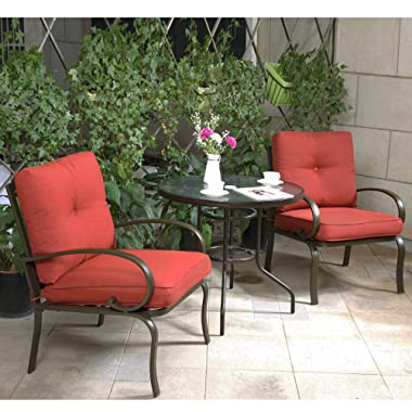 Cloud Mountain Patio Bistro Set 3 Piece Chair Set with 32  Tempered Glass Top Dining Table Outdoor Bistro Patio Furniture Bistro Set Wrought Iron Frame Thick Cushion Garden Yard Balcony (Brick Red)