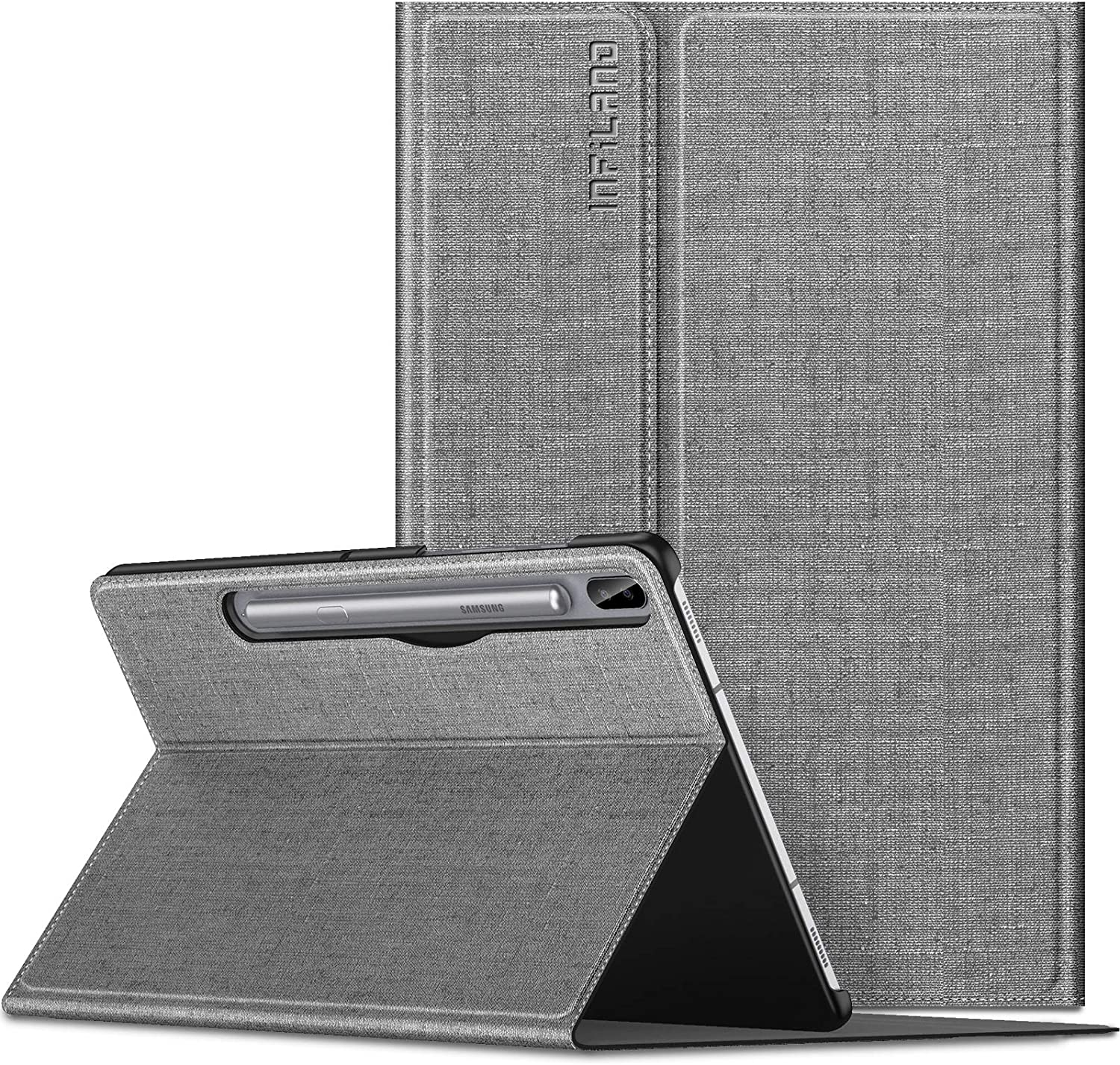 Infiland Galaxy Tab S6 10.5 Case, Multiple Angle Stand Case Fit Samsung Galaxy Tab S6 10.5 Inch Model SM-T860/T865/T867 2019 Release, Support S Pen Wirelss Charging, Auto Wake/Sleep, Gray