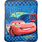 "Disney Pixar Cars Ultimate Speed Blue/Yellow/Red Plush 50"" x 60"" Throw with Lightning McQueen (Official Product)"