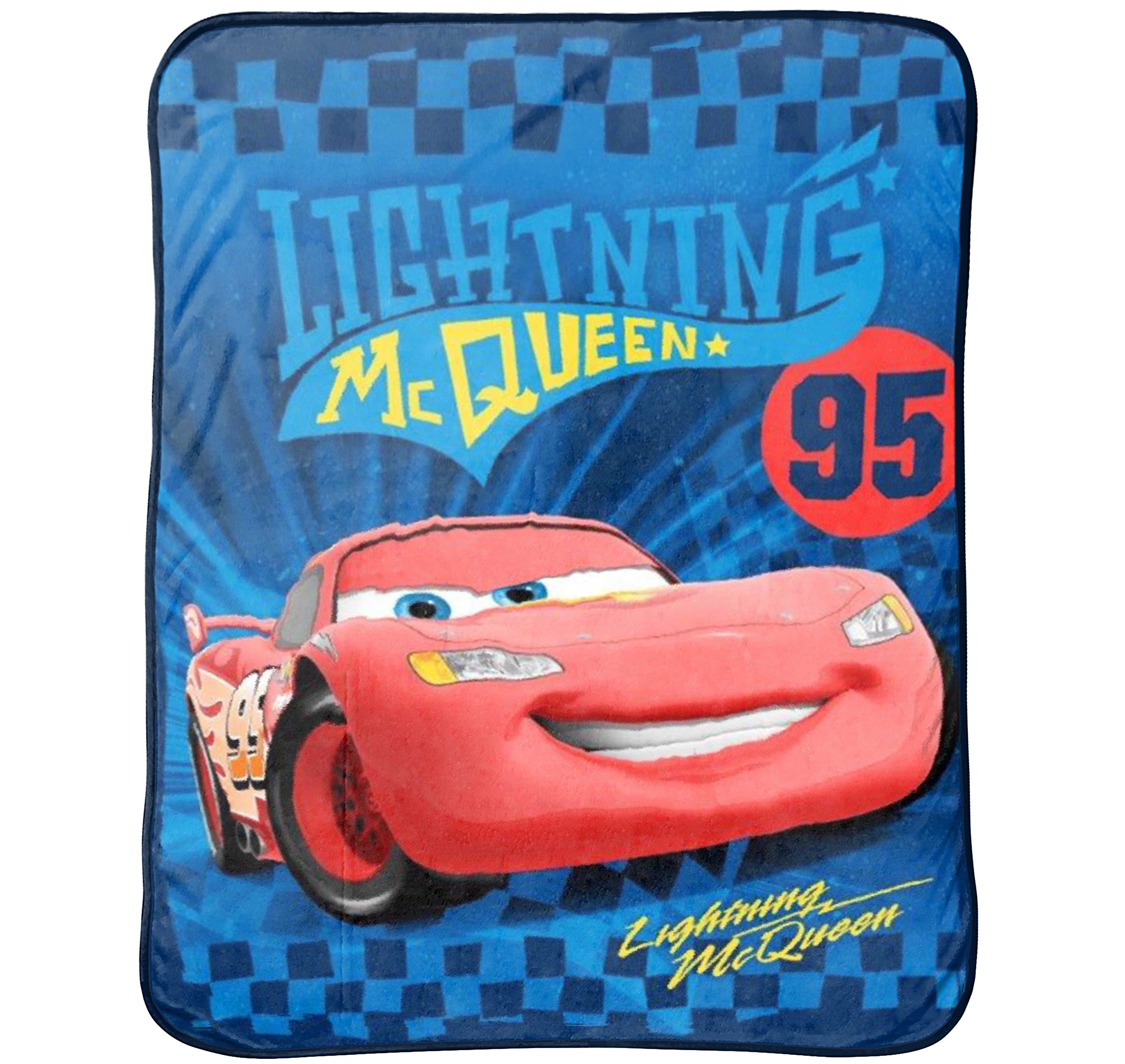 Disney Pixar Cars Ultimate Speed Blue/Yellow/Red Plush 50'' x 60'' Throw with Lightning McQueen (Official Product)