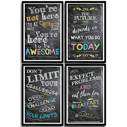 Motivational Posters for Classroom, Office Decorations, Inspirational Wall  Art, Perfect for Students, Teachers, School, Kids Room & Home  Chalkboard