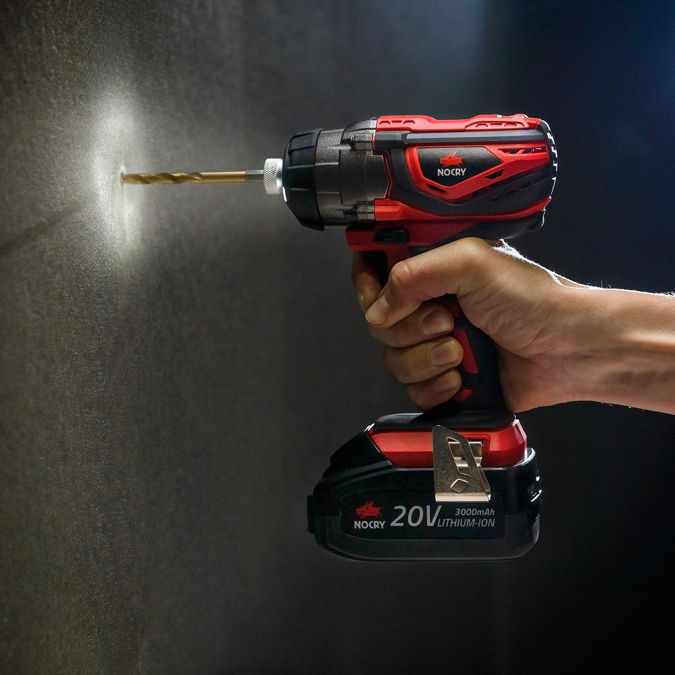 NoCry 20V Cordless Impact Driver Kit - 120 ft-lb (160 N.m) Torque, 3000 Max RPM/IPM, 1/4 inch Hex Chuck, LED Work Light, Belt Clip; 3.0 Ah Battery, Fast Charger & Carrying Case Included by NoCry (Image #3)