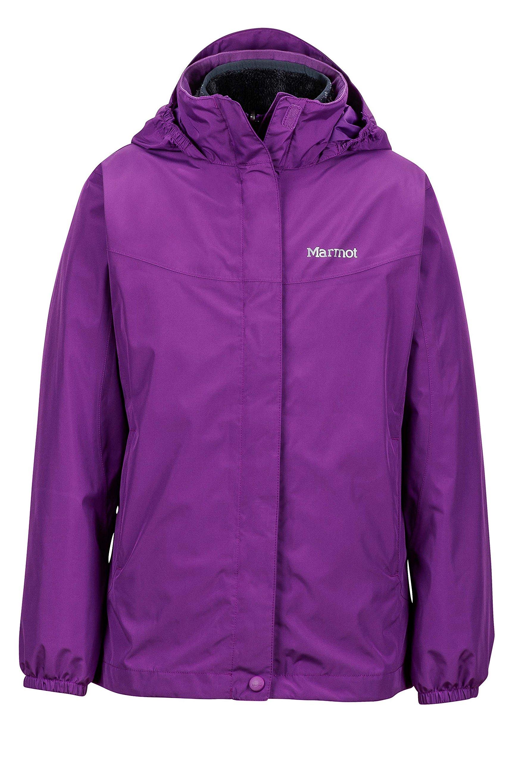 Marmot Northshore Girls' Waterproof Hooded Rain Jacket with Removable Fleece Liner, Mystic Purple, Small by Marmot