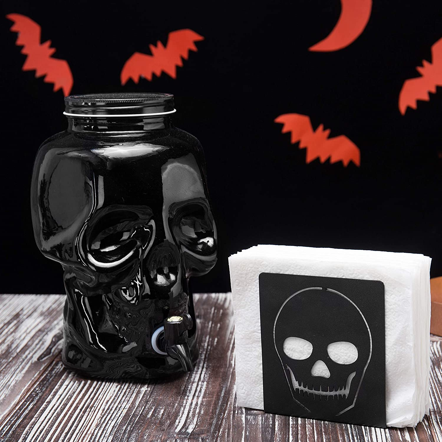 MyGift Black Glass Skull 1-Gallon Drink Dispenser with Spigot and Screw Top Lid