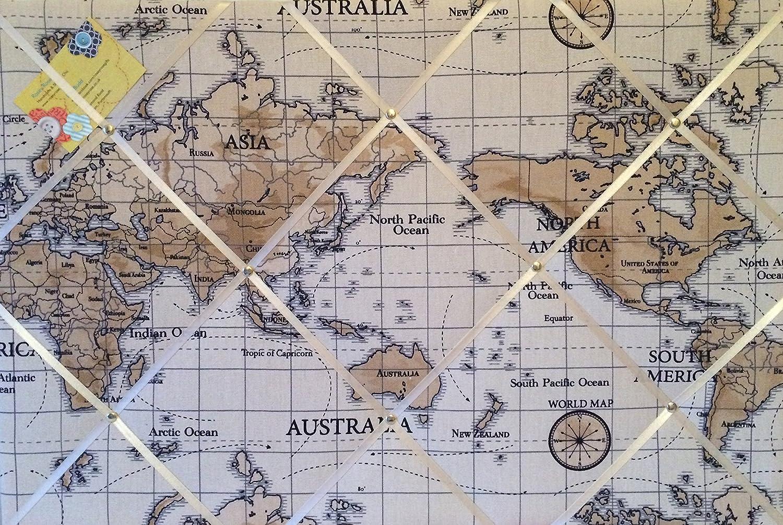 Grande 60 x 40 cm FRYETTS Atlas Mundial Mapa náutico Vintage Hecho a Mano Tela Aviso/Pin/Memo/módulo de Junta: Amazon.es: Hogar