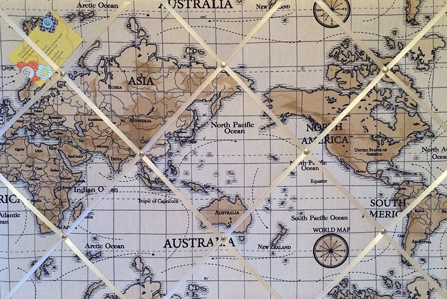Large 60x40cm fryetts world atlas map nautical vintage hand large 60x40cm fryetts world atlas map nautical vintage hand crafted fabric notice pin memo memory board amazon kitchen home sciox Choice Image