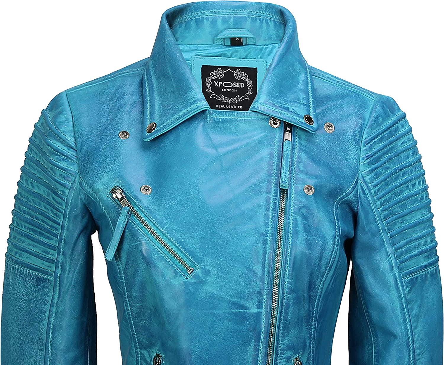 24 Xposed Womens Vintage Slim Fitted Soft Real Leather Ladies Biker Jacket UK Size 6