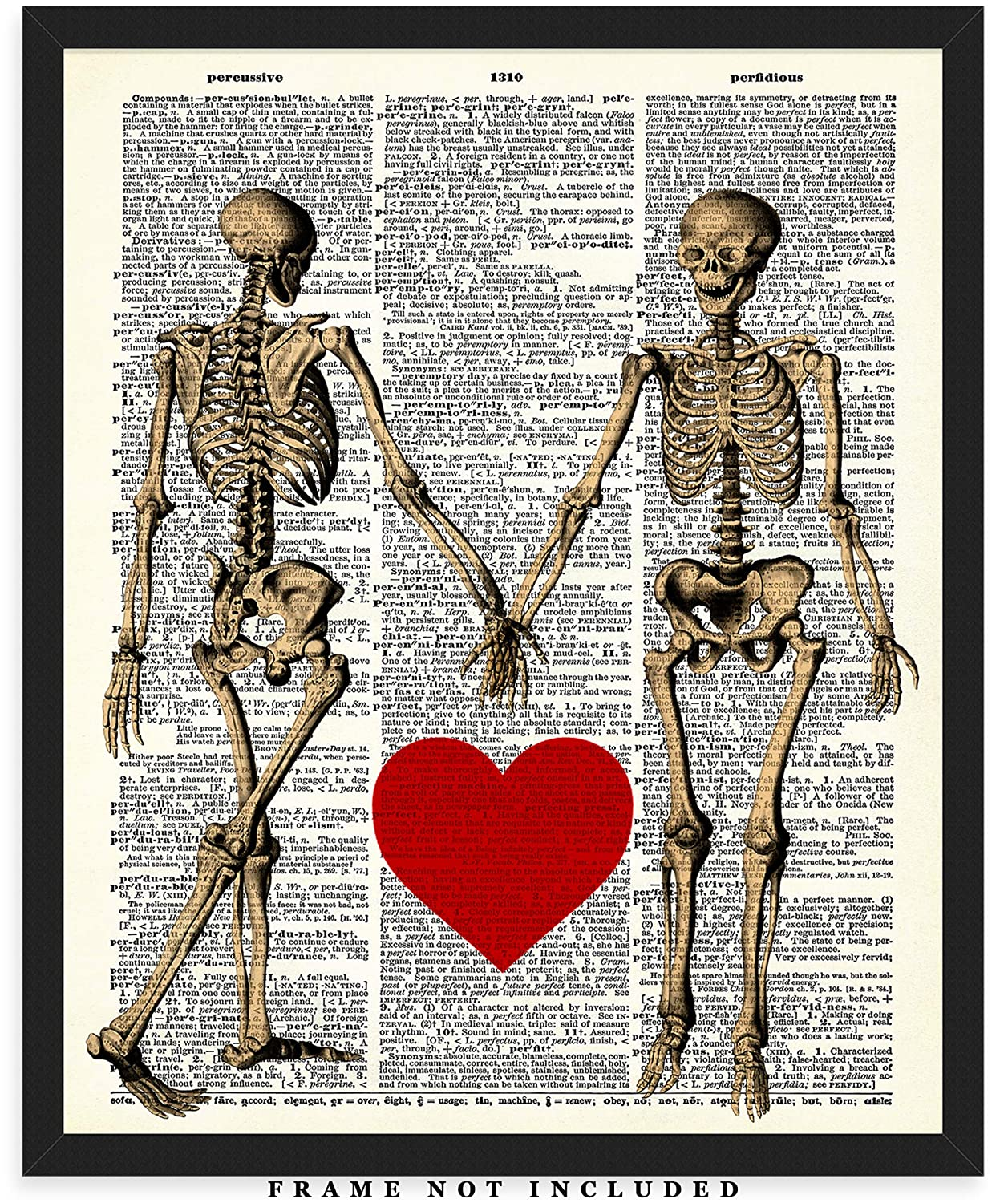 Skeletons In Love Wall Art Print: (8x10) Unframed Poster Print – Great Gift  Idea For a Significant Other or That Special Person in Your Life!