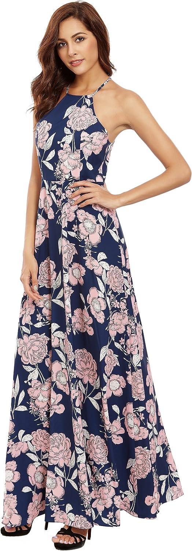 Floerns Women's Sleeveless Halter Neck Maxi Dress