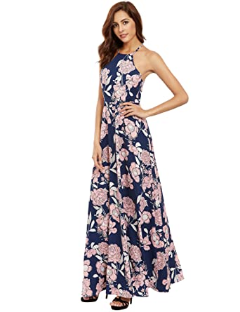 633a89707f3d Floerns Women s Sleeveless Halter Neck Vintage Floral Print Maxi Dress