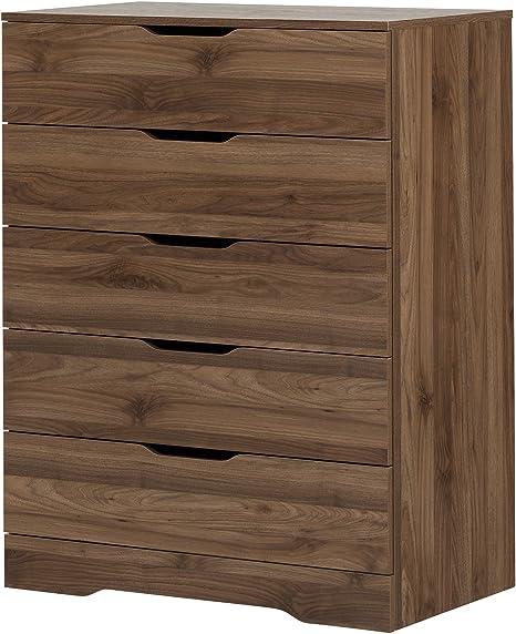 Amazon Com South Shore Holland 5 Drawer Chest Natural Walnut Furniture Decor