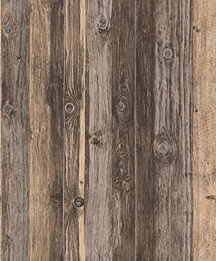 Blooming Wall 910707 Faux Multicolor Vintage Barnwood Wood Plank Panel Wallpaper Mural For Livingroom