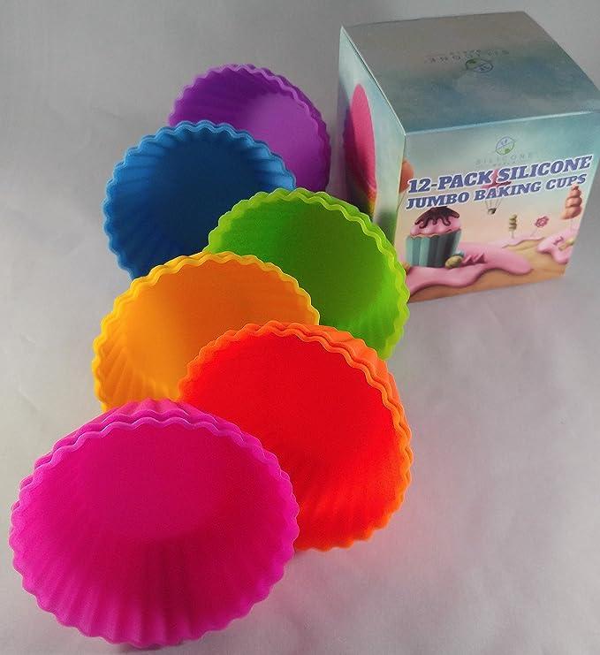 Premium Jumbo de silicona 12 unidades para cupcakes por silicona World- superior calidad, antiadherente reutilizable para horno, Multi-color y versátil se ...
