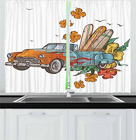 Amazon Com Lunarable Vintage Hawaii Kitchen Curtains Old School Car With Surfboards On Its Truck Freedom Sixties Inspired Image Window Drapes 2 Panel Set For Kitchen Cafe Decor 55 X 39 Multicolor Home