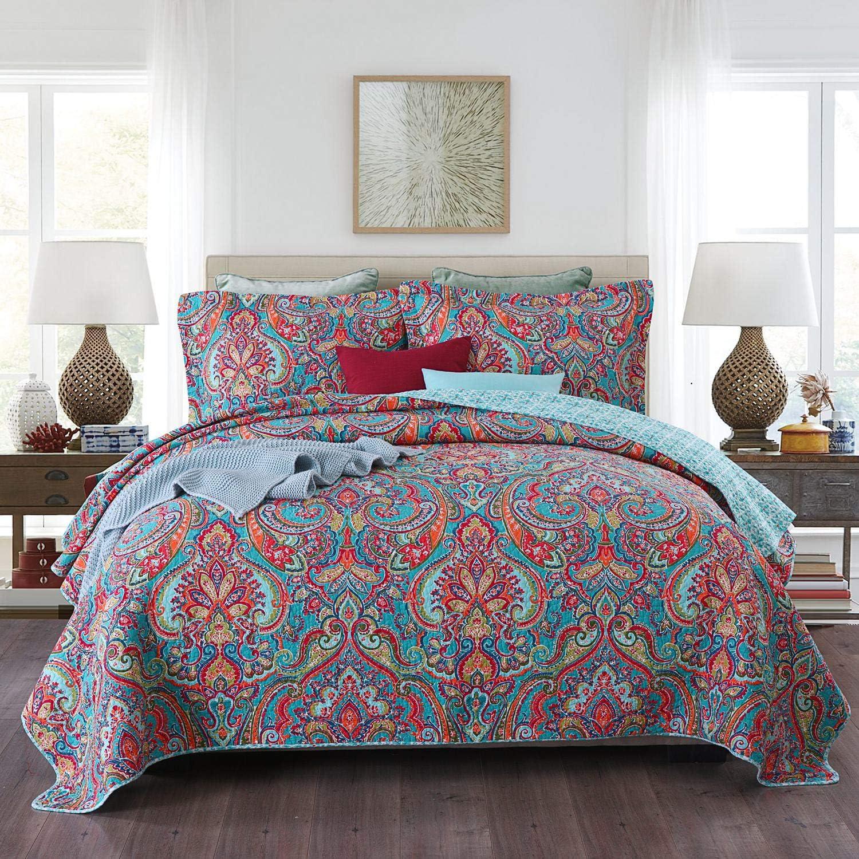 Qucover Tagesdecke 240 x 260 cm Boho Stil Bett/überwurf f/ür Doppelbett Bunte Gesteppte Decke mit Kissenbezug Set Paisley Muster aus Baumwolle /& Polyester