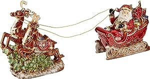 "Burton & Burton Porcelain 10"" h Santa, Sleigh and Reindeer Christmas Figurine for Holiday Home Decor"