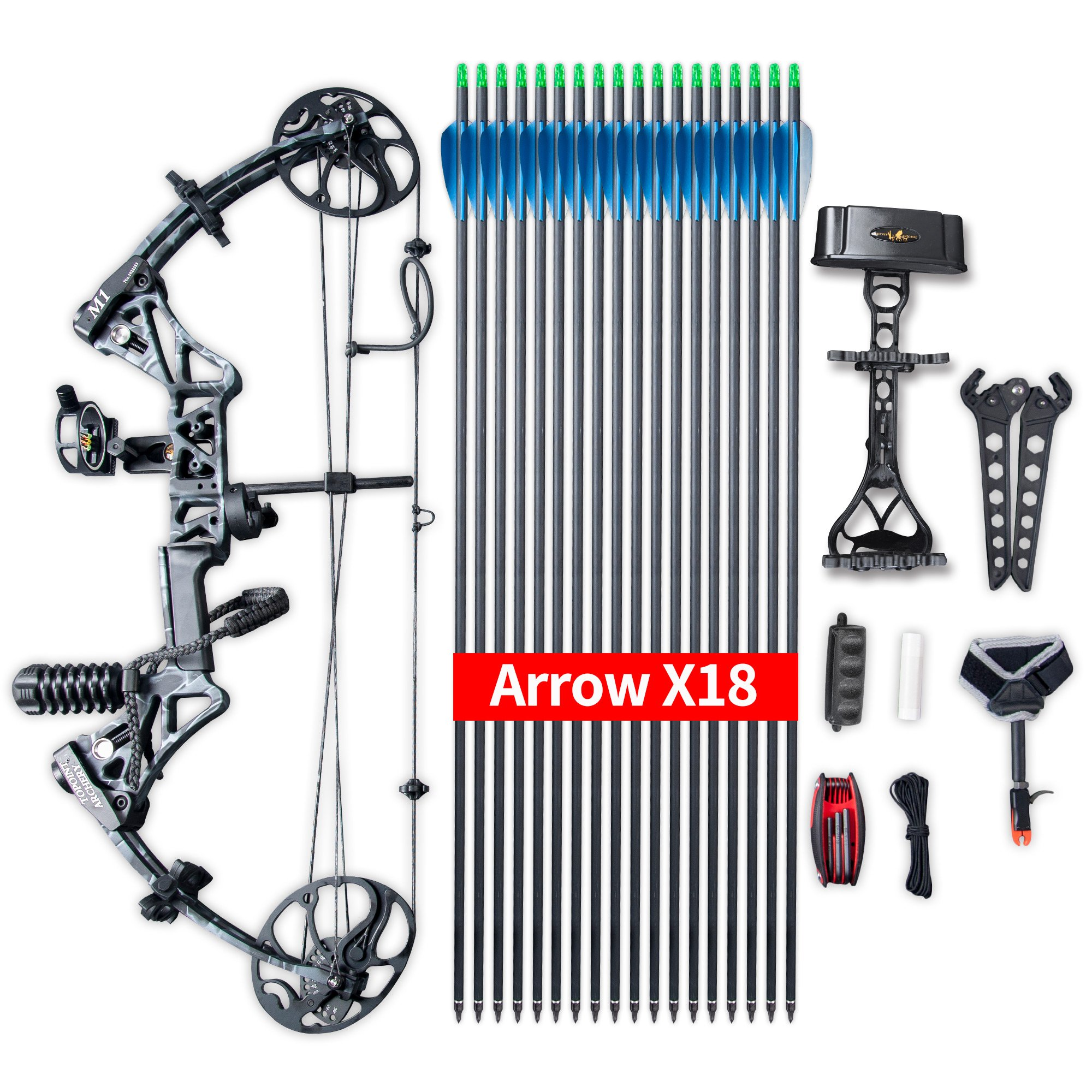 """Compound Bow Ship from USA Warehouse,Topoint Archery Package,M1,19""""-30"""" Draw Length,19-70Lbs Draw Weight,320fps IBO Limbs Made in USA (Black camo)"""