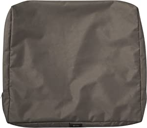 Classic Accessories Ravenna Water-Resistant 25 x 22 x 4 Inch Patio Back Cushion Slip Cover, Dark Taupe