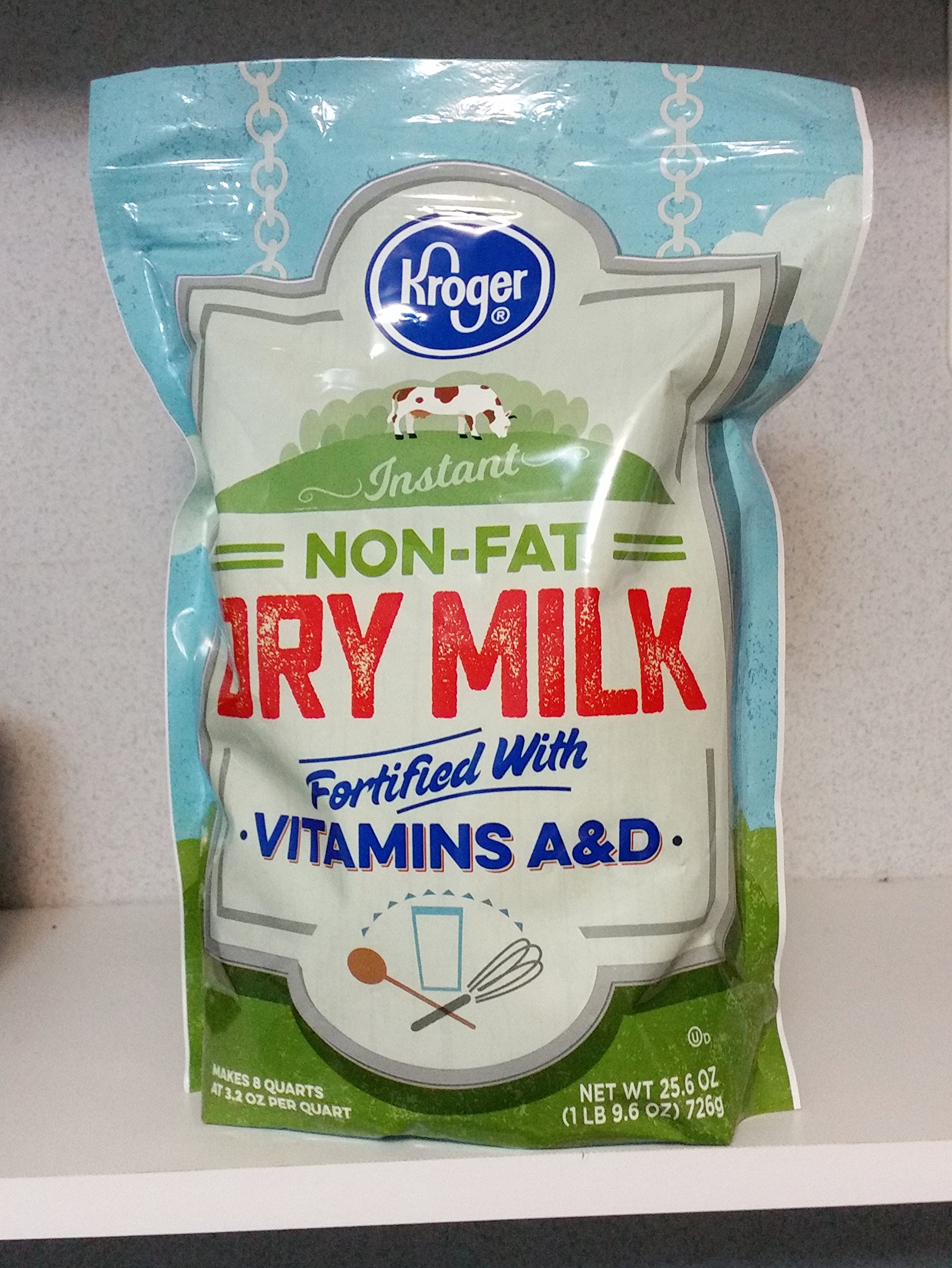 KROGER INSTANT NON-FAT DRY MILK MAKES 8 QUARTS 1lb 8oz RESEALABLE BAG
