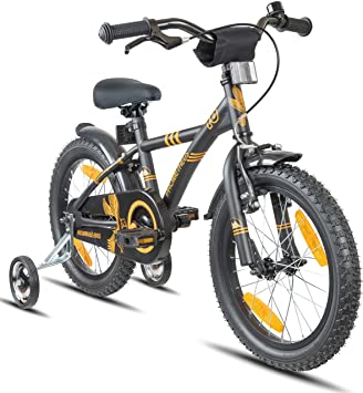 2fab20c89bd PROMETHEUS Kids bike 16 inch Boys and Girls in black Matt   Orange with  metallic stabilisers ...
