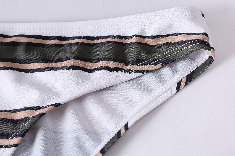 Lemonfish Womens Strapless Bra Horizontal Stripe Bandeau Bikini Bottom Set Swimsuit