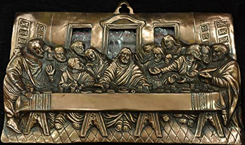 Trusted Seller 19″ Long Saints Jesus Last Supper Statue Handmade Metal Copper Plated Wall Decor