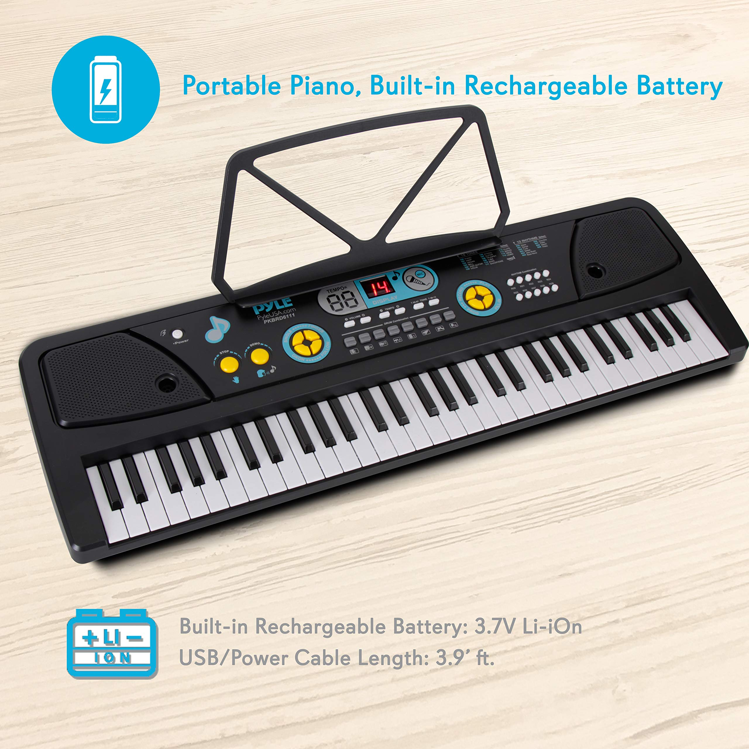 Digital Piano Kids Keyboard - Portable 61 Key Piano Keyboard, Learning Keyboard for Beginners w/ Drum Pad, Recording, Microphone, Music Sheet Stand, Built-in Speaker - Pyle by Directly Cheap (Image #2)