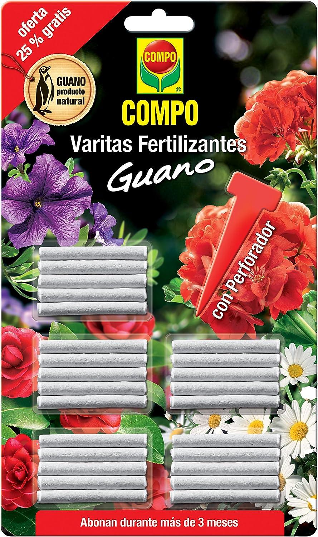 Compo Varitas Fertilizantes con Guano para Plantas de Interior y Exterior, Larga duración de hasta 3 Meses, 30 Unidades, 24.3 X 14.4 X 0.5 Cm