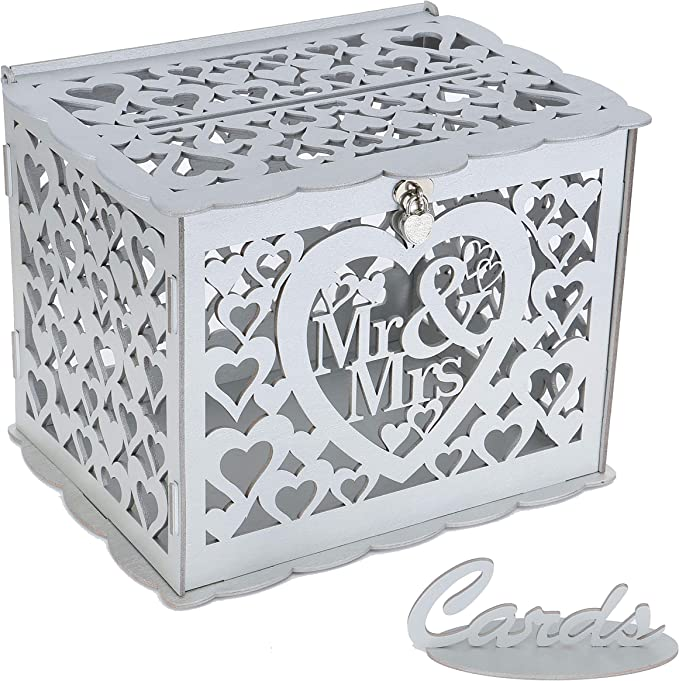 Amazon.com: Ywlake Wedding Money Box Holder with Sign, Large Rustic Wood Wooden DIY Envelop Gift Card Boxes with Lock Slot for Reception Anniversary Graduation Birthday Party Parties (Mr & Mrs, Silver): Home & Kitchen