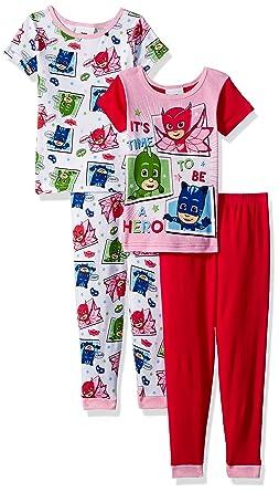 Captivating PJ Masks Toddler Girlsu0027 4 Piece Cotton Pajama Set, White, ...