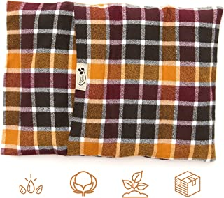"product image for ComfyComfy Microwaveable Organic Flaxseed Heating Pad with Washable Case 15"" x 11"", Made in USA, Autumn Plaid"