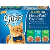 9Lives Paté Favorites Wet Cat Food Variety Pack, 5.5 Oz Cans, 12 Count