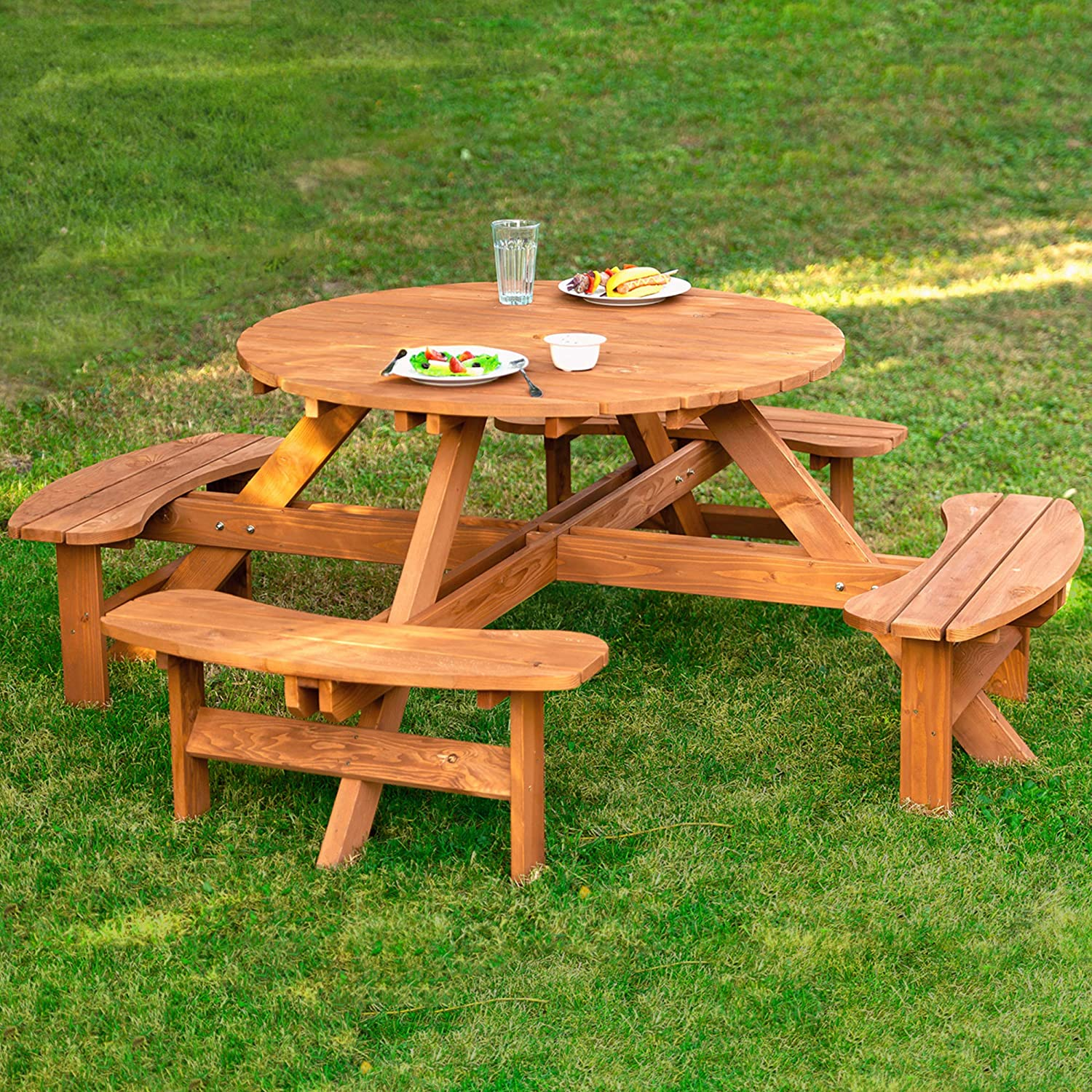 Amazon.com: Leisure Season RPT8230 Round Picnic Table - Brown - 1 Piece - Best Portable Wooden Outdoor Seating And Dining Furniture - Rustic Garden, Lawn, Deck Or Patio Set With Umbrella Hole -