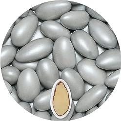 EinsSein® 500g Hochzeitsmandeln Nobile Silber metallic matt Gastgeschenke Hochzeit Zuckermandeln Schokomandeln Bonboniere Bonbons Schokotafeln ohne organzasäckchen Dragees Taufe Taufmandeln kg 500g