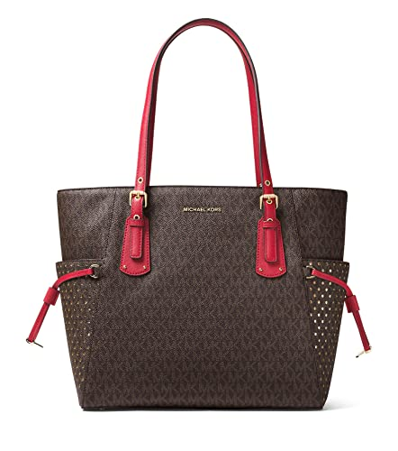 590066d87a0f MICHAEL Michael Kors Voyager East West Signature Tote (Brown Burnt Red)
