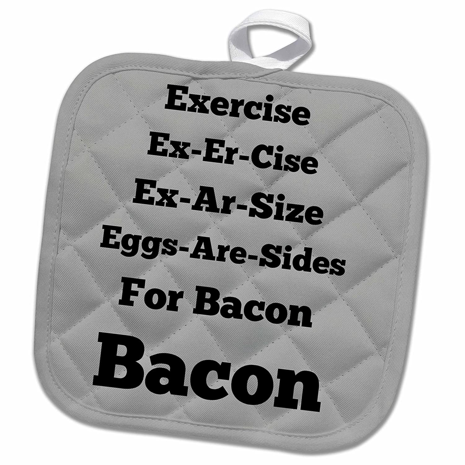 3D Rose Eggs are Sides for Bacon Gray Black Pot Holder 8 x 8 Multiple Color