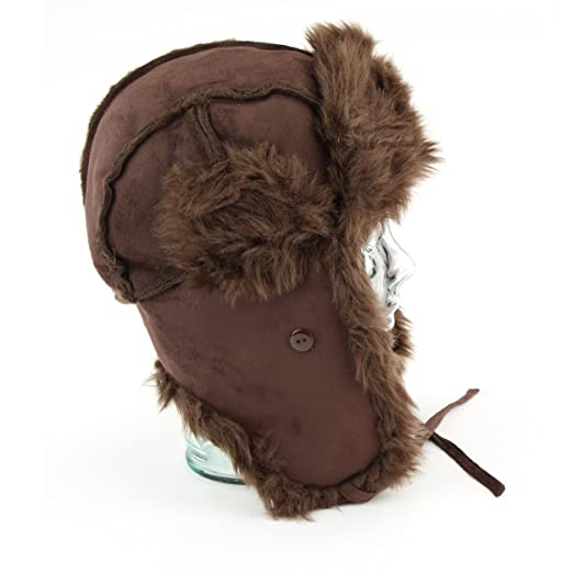 9361e0ff869 Hawkins suede effect trapper hat with thick faux fur trim and lining -  Brown 58  Amazon.co.uk  Clothing