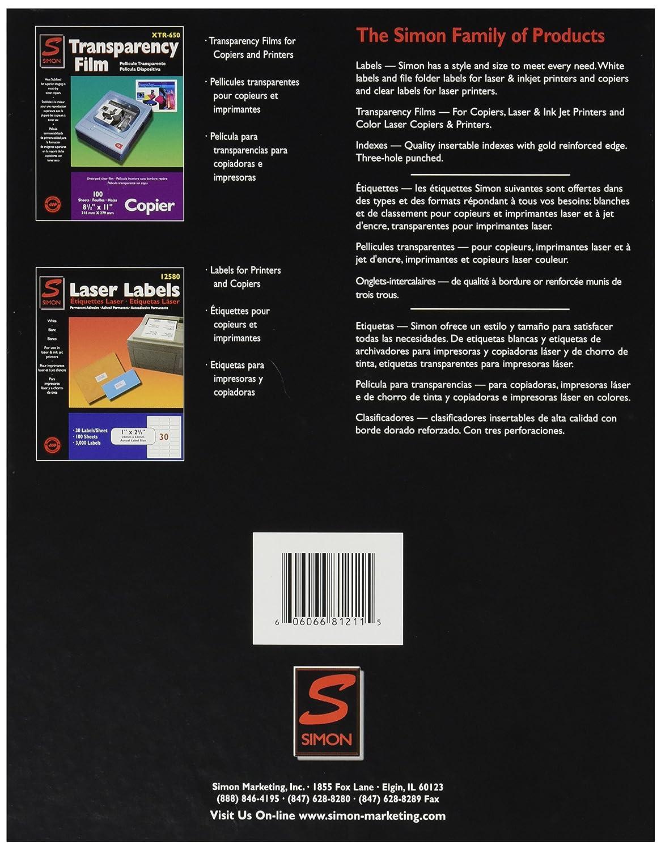 Amazon.com : Simon 81211 Copier labels, 8 1/2 x 11, white, 100 per box : Office Products