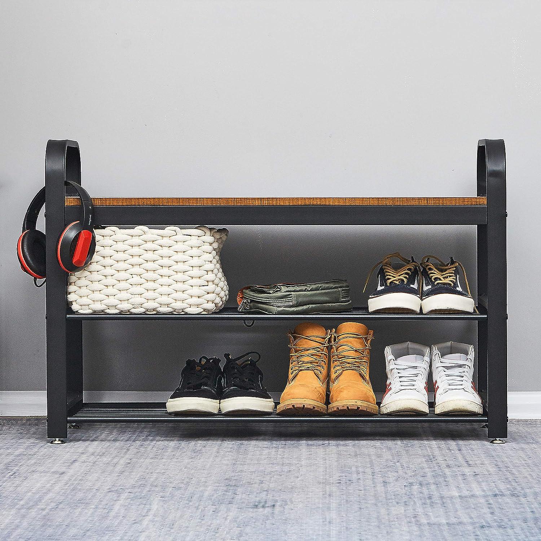 Schwarz Eisen-Holz Schuhschrank mit Armlehnen Mehrschichtig Schuhablage 90 x 34 x 46cm Braun Meerveil Schuhbank