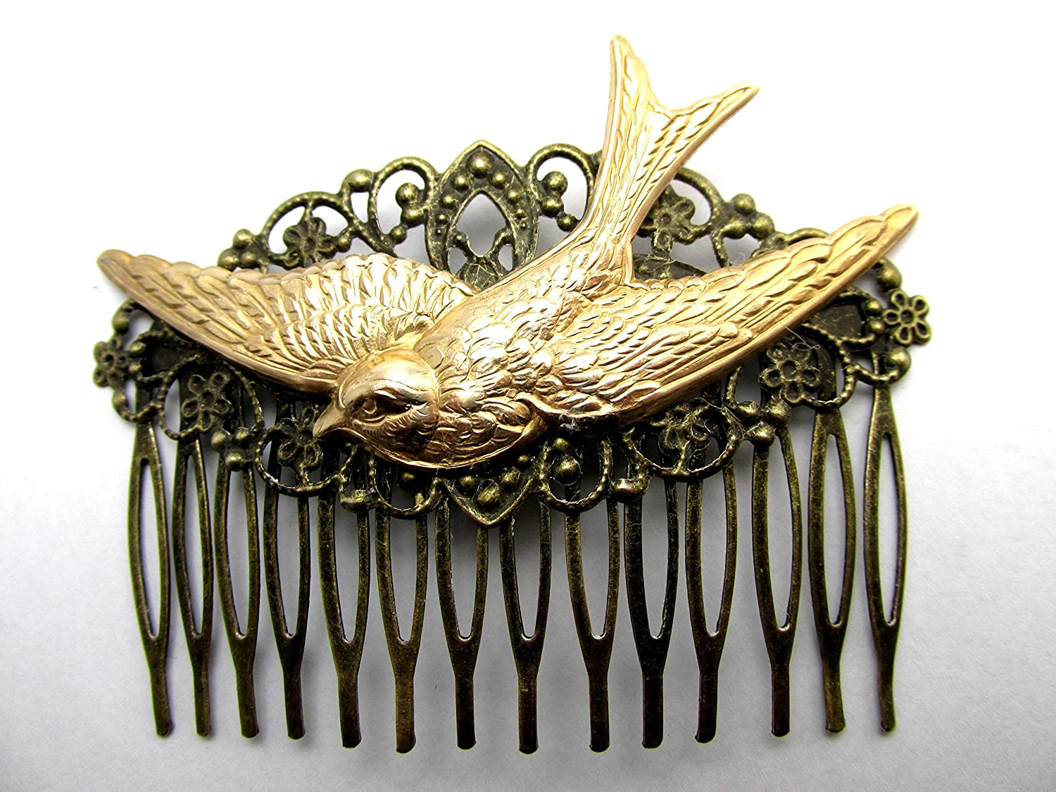 Blue Birds Hair Comb Birds in Flight Hair comb silver hair combs Bridal Hair Accessories Silver Decorative comb MyElegantThings