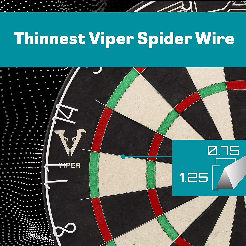 Viper Razorback Spitze aus Sisal//Bristle Dartscheibe mit frei von Klammern sind Spider