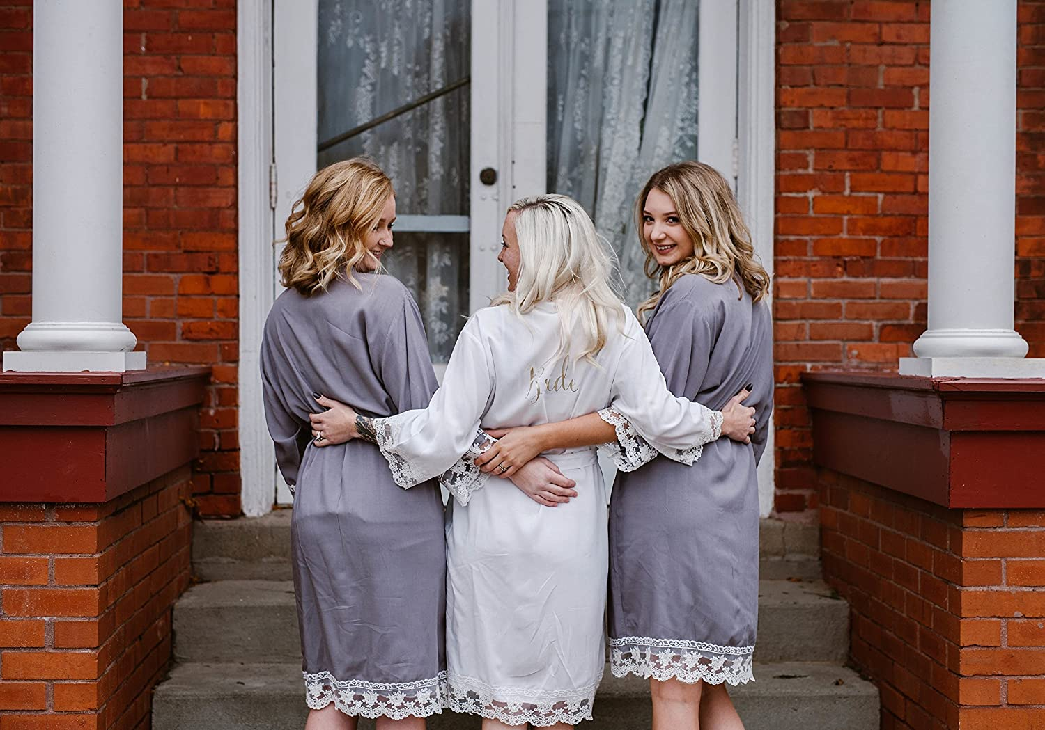 Personalized Bridesmaids Robes/Bridal robe/Gift bridal robe/Bridesmaids Gift/Cotton Lace Robe
