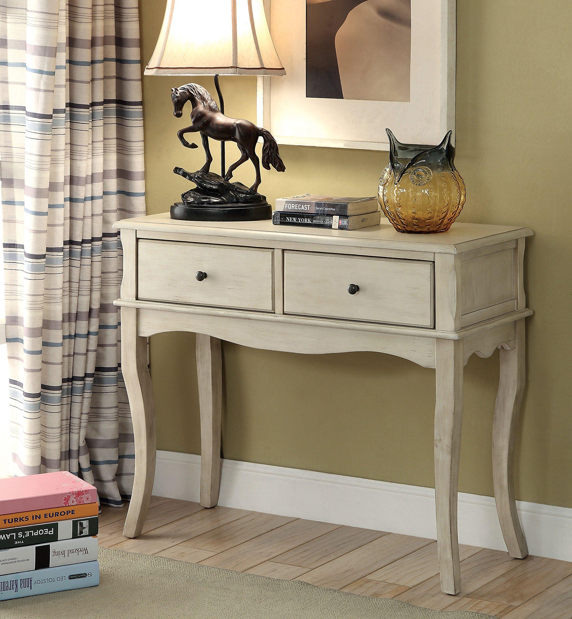ComfortScape Sia 2 Drawer Storage Hallway Table in Antique White