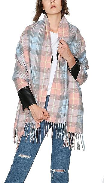 bfcdfaa7406c8 Urban CoCo Women s Cozy Color Block Long Shawl Wrap ( 3 Pink) at ...