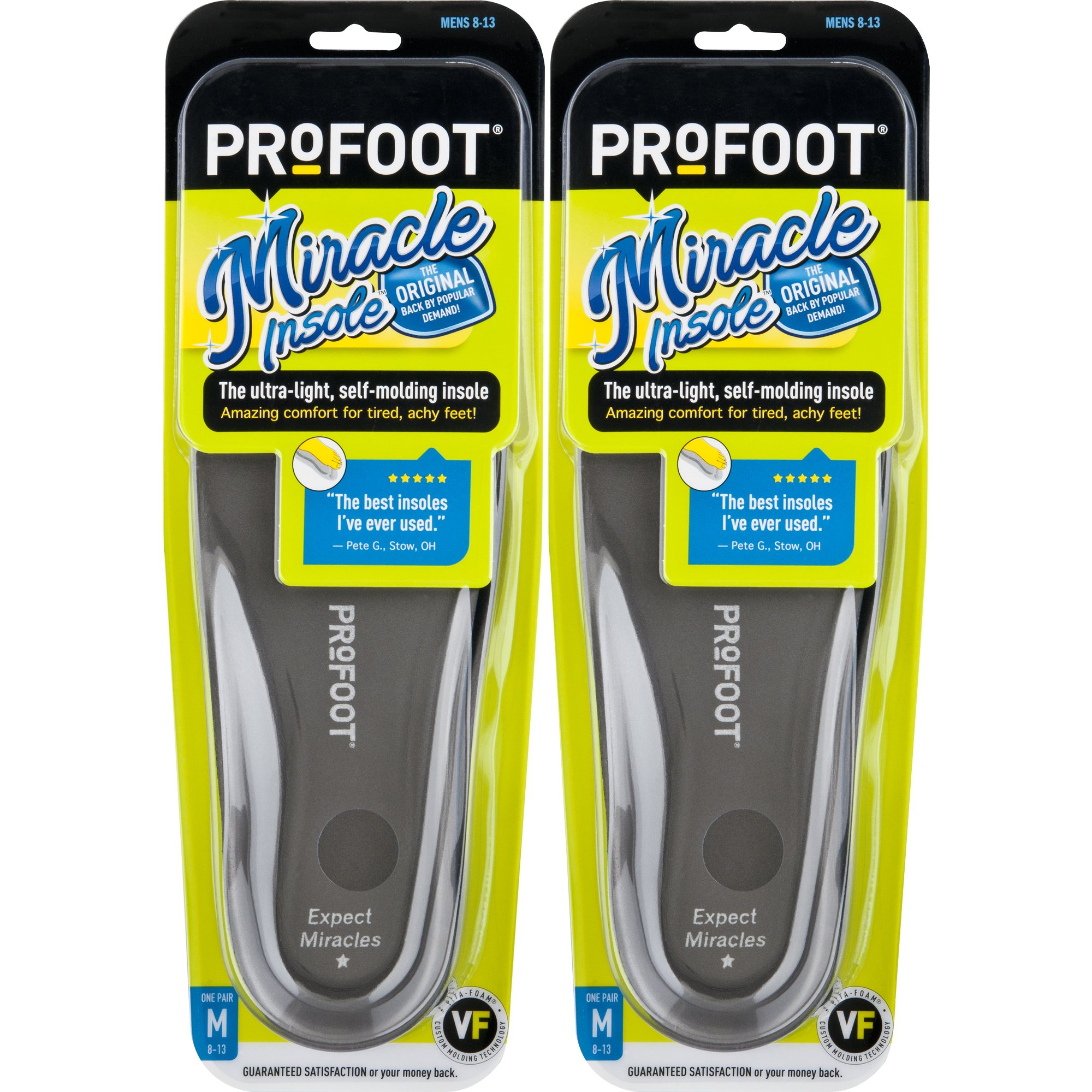 PROFOOT Original Miracle Insole, Men's 8-13, 2 Pair, 2-Layer Lightweight Insole with Memory-Foam Technology for Relief from Sore Feet and Aching Heels from Walking, Standing, Hiking