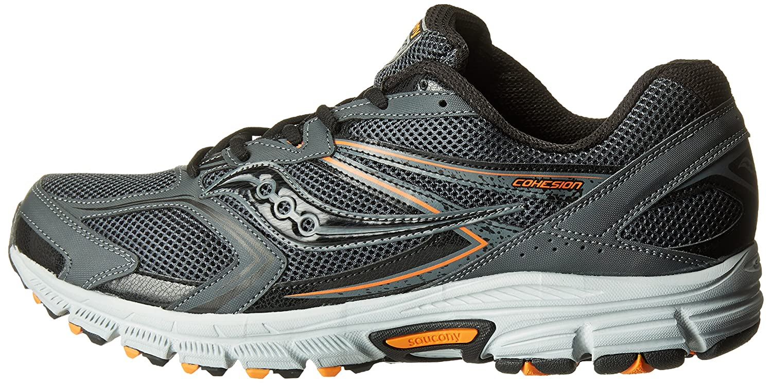 Saucony Men's Cohesion TR9 Running Shoe, Grey/Black/Orange, 10 M US, Grey / Black / Orange, 9.5 M US