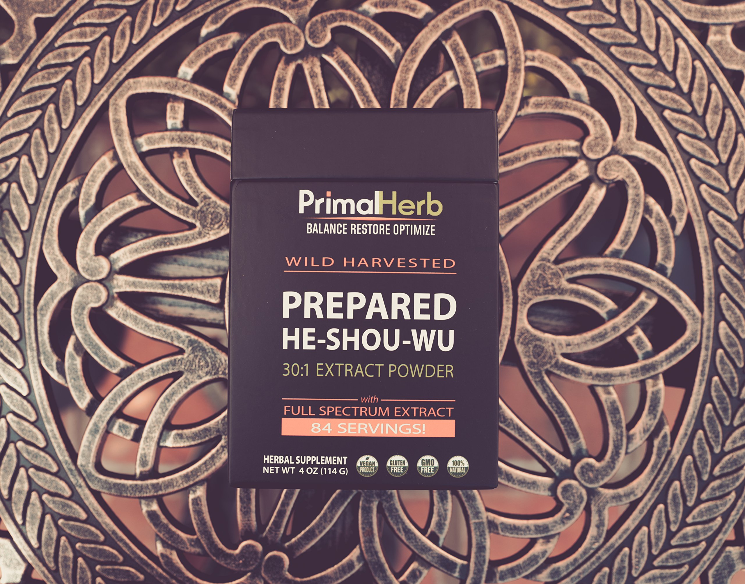 He Shou Wu Fo ti Root Extract Powder - by Primal Herb | Longevity Tea - Supports Hair Growth & Glowing Skin | Organic Potent 30:1-84 Servings - Aged Roots | Includes Bamboo Spoon by Primal Herb (Image #6)